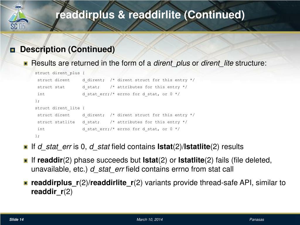 readdirplus & readdirlite (Continued)