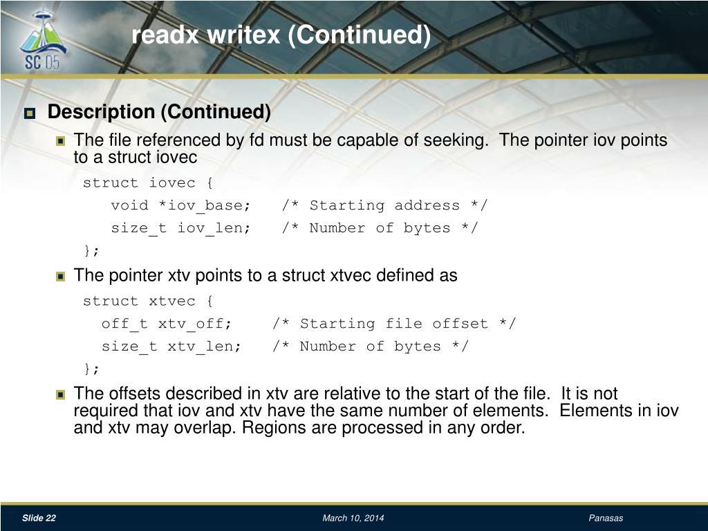 readx writex (Continued)