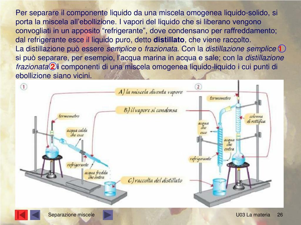 """Per separare il componente liquido da una miscela omogenea liquido-solido, si porta la miscela all'ebollizione. I vapori del liquido che si liberano vengono convogliati in un apposito """"refrigerante"""", dove condensano per raffreddamento; dal refrigerante esce il liquido puro, detto"""