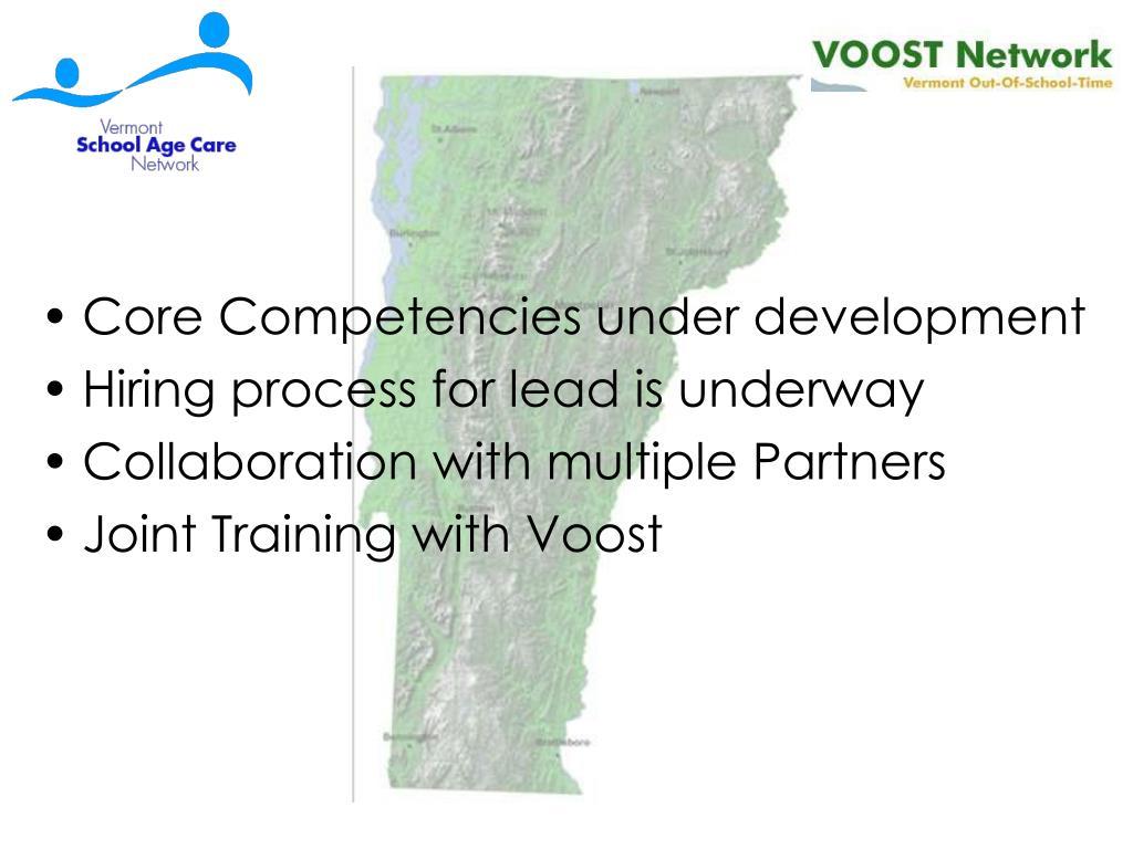 Core Competencies under development