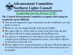 advancement committee northern lights council40