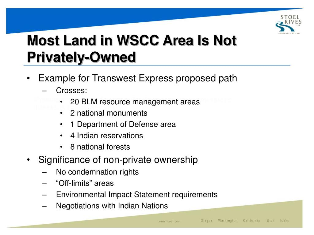 Most Land in WSCC Area Is Not Privately-Owned