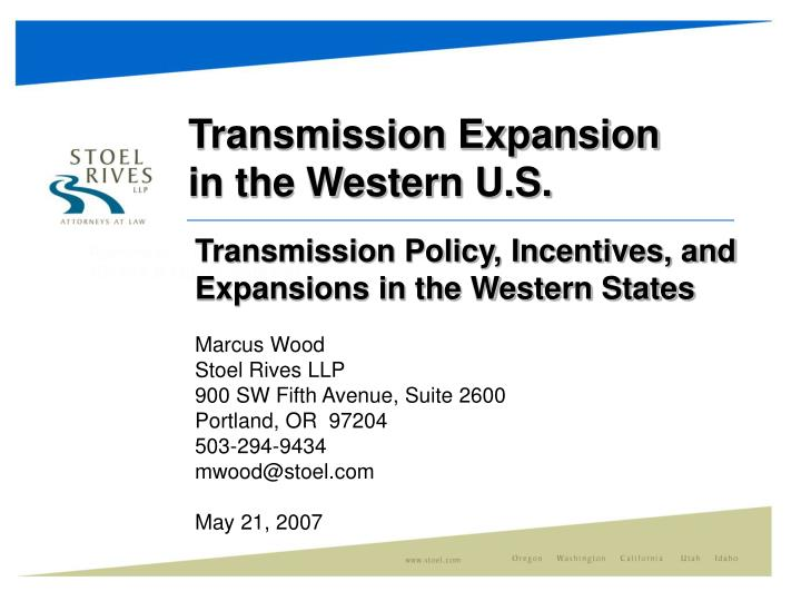 transmission expansion in the western u s n.