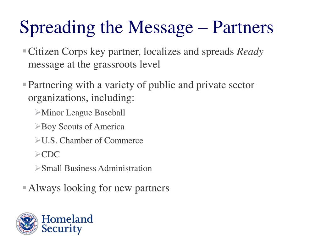 Citizen Corps key partner, localizes and spreads