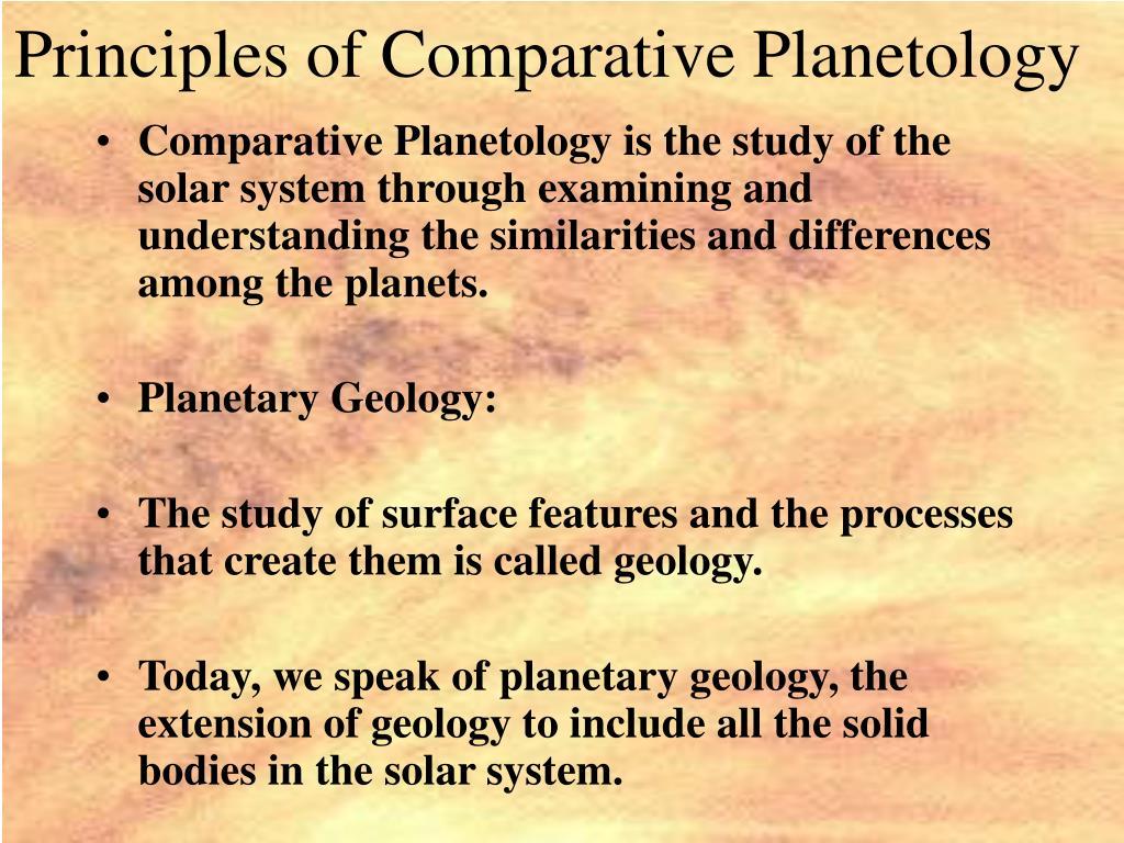 Principles of Comparative Planetology