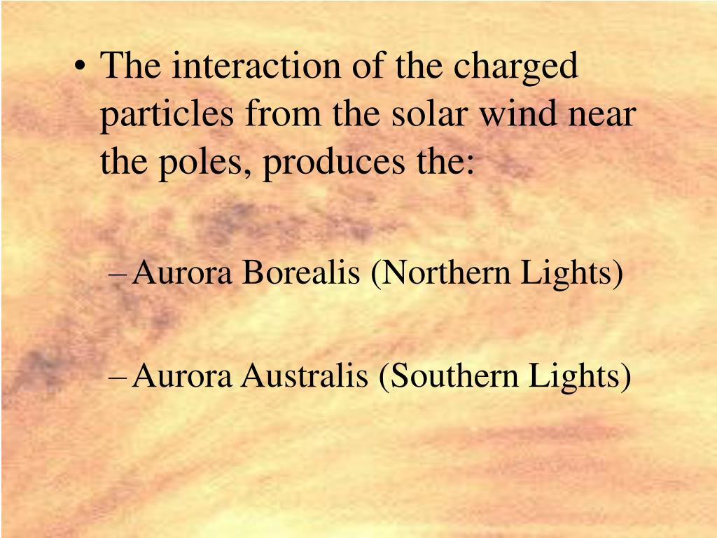 The interaction of the charged particles from the solar wind near the poles, produces the: