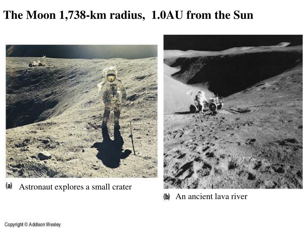 The Moon 1,738-km radius,  1.0AU from the Sun