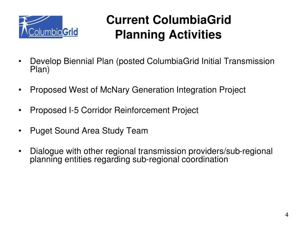 Develop Biennial Plan (posted ColumbiaGrid Initial Transmission Plan)