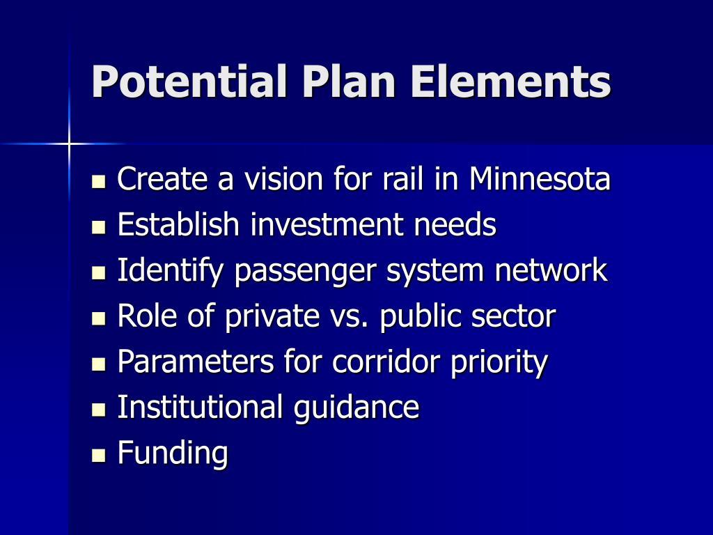 Potential Plan Elements