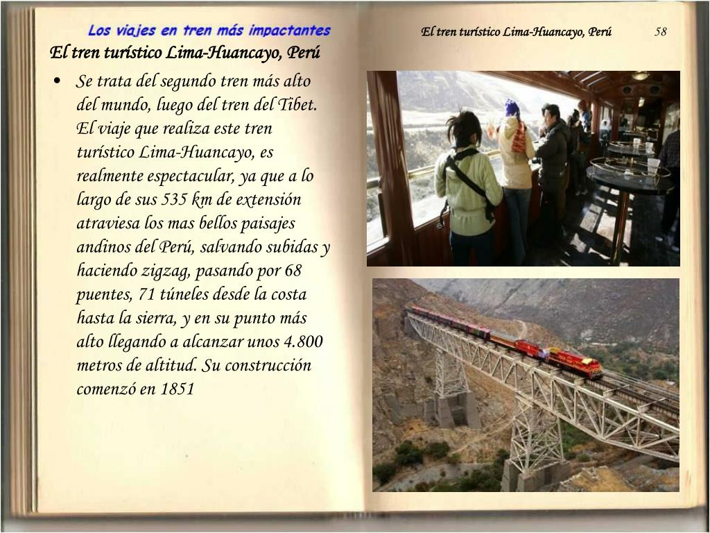 El tren turístico Lima-Huancayo, Perú