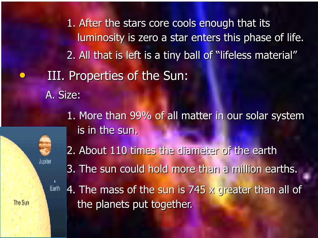1. After the stars core cools enough that its luminosity is zero a star enters this phase of life.