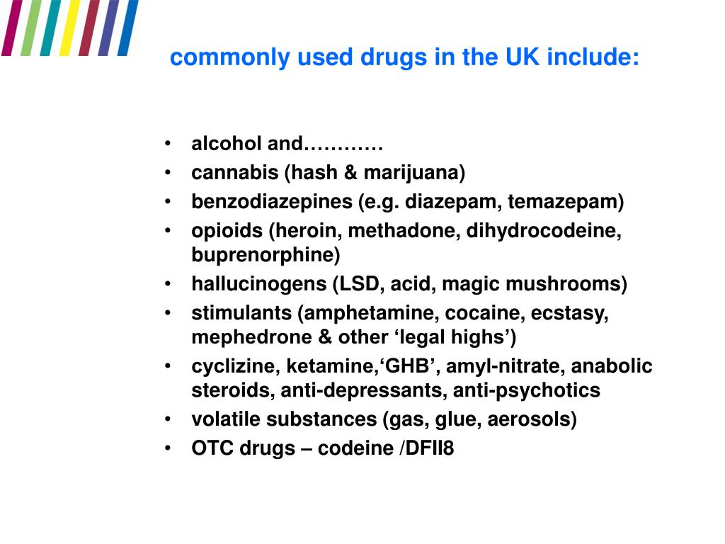 commonly used drugs in the UK include: