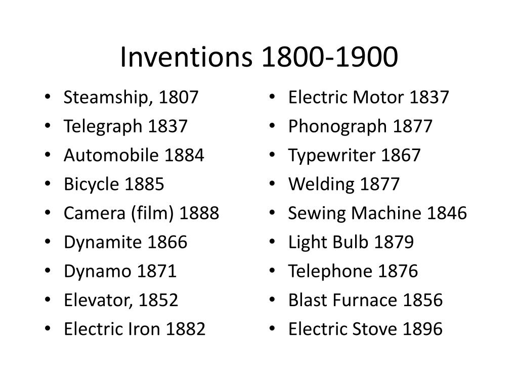 Inventions 1800-1900
