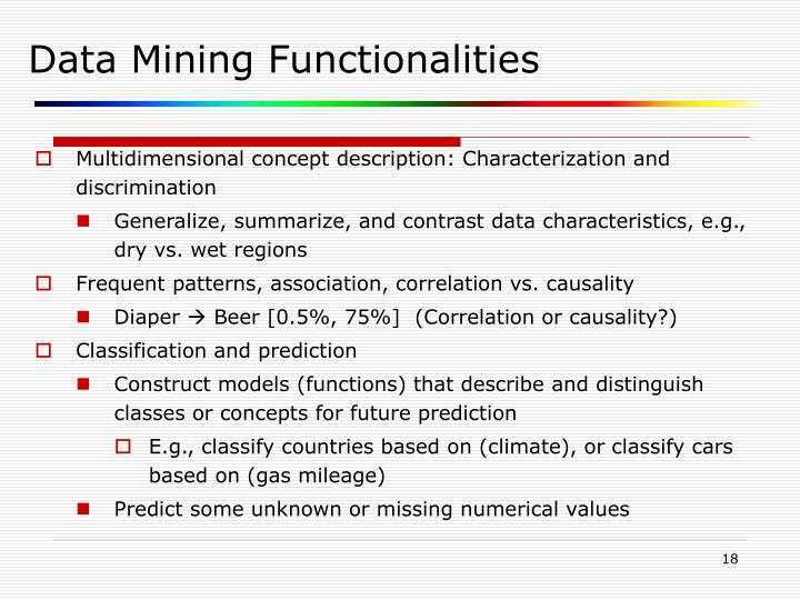 Data Mining Functionalities - Last Night Study