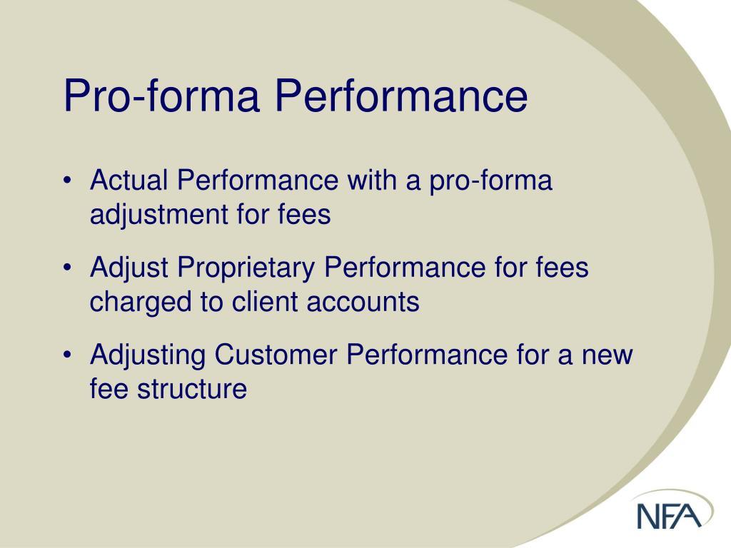 pro forma performance