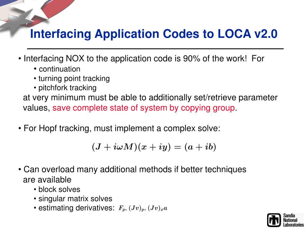Interfacing Application Codes to LOCA v2.0