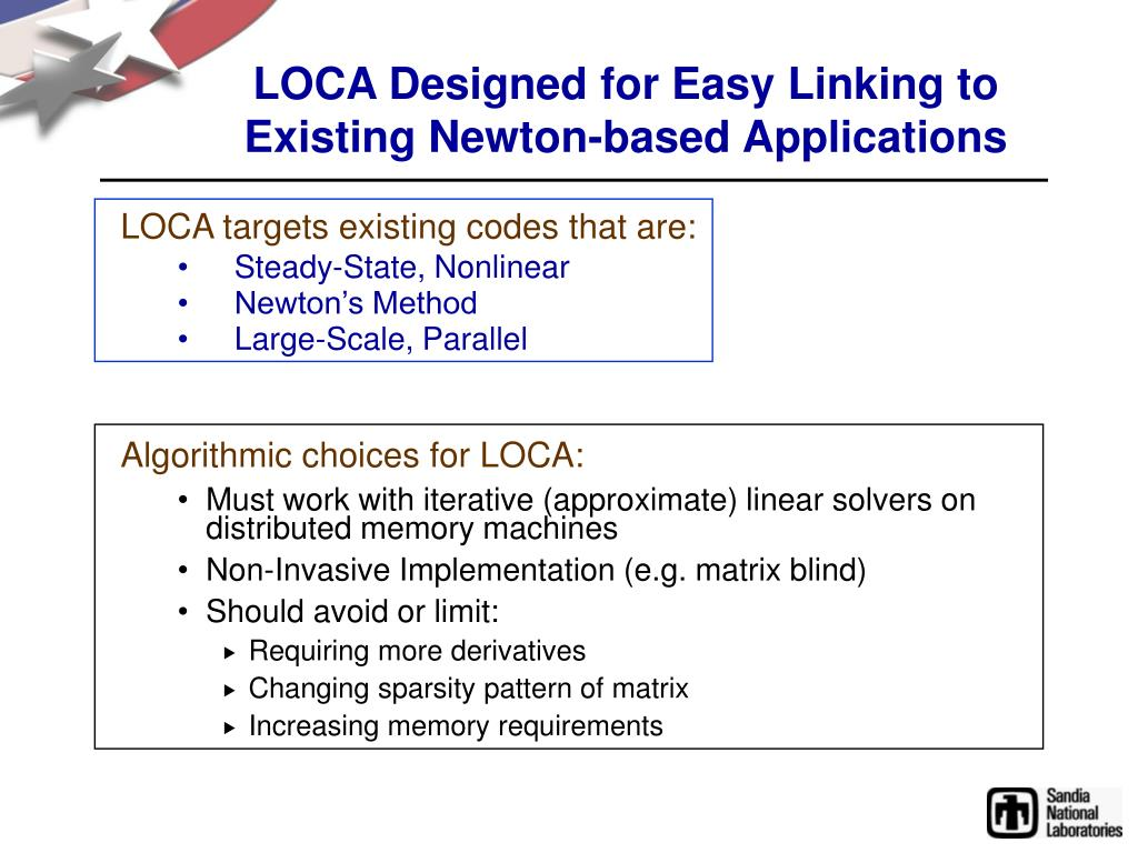 LOCA Designed for Easy Linking to Existing Newton-based Applications