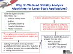 why do we need stability analysis algorithms for large scale applications