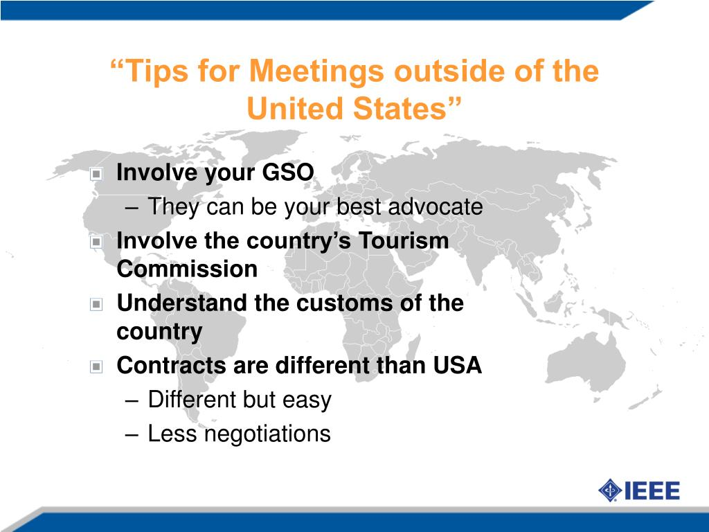 """Tips for Meetings outside of the United States"""