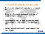 tourism on global level for 2008
