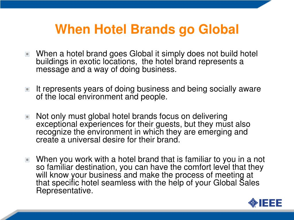 When Hotel Brands go Global
