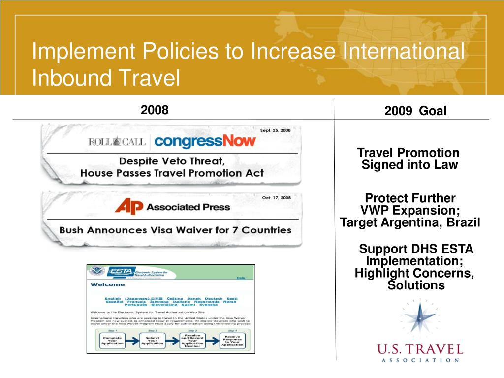 Implement Policies to Increase International Inbound Travel