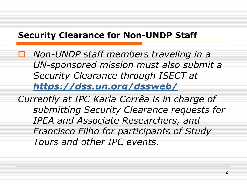 Security Clearance for Non-UNDP Staff