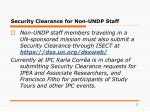 security clearance for non undp staff