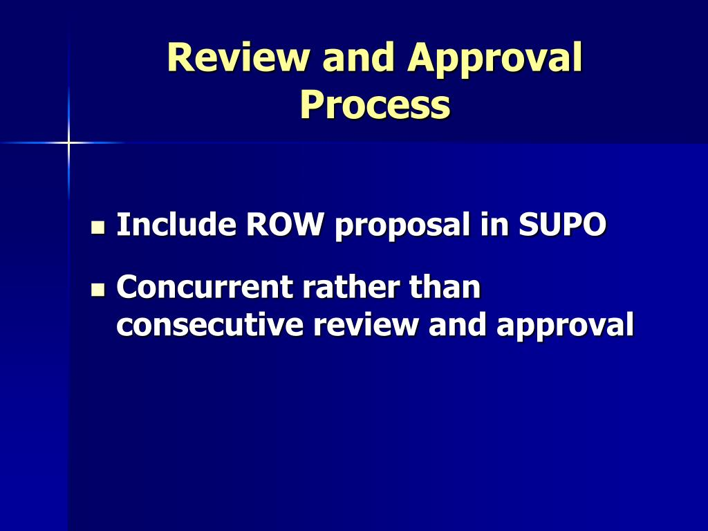 Review and Approval Process