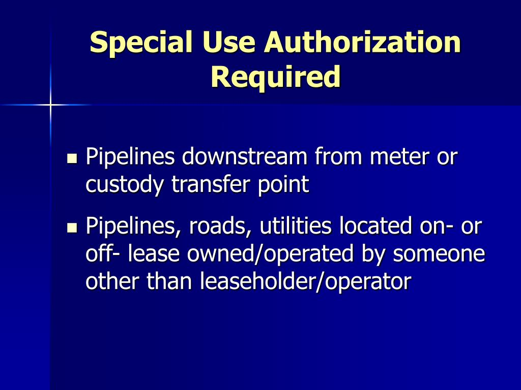 Special Use Authorization Required