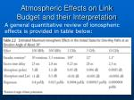 atmospheric effects on link budget and their interpretation