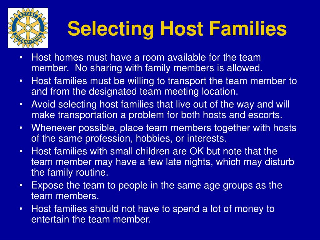 Selecting Host Families