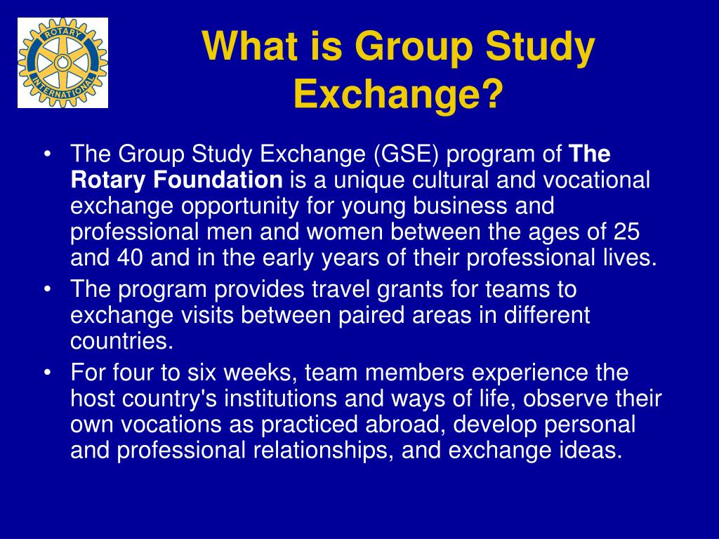 What is Group Study Exchange?