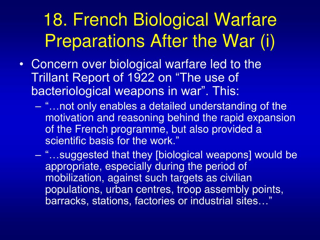 18. French Biological Warfare Preparations After the War (i)