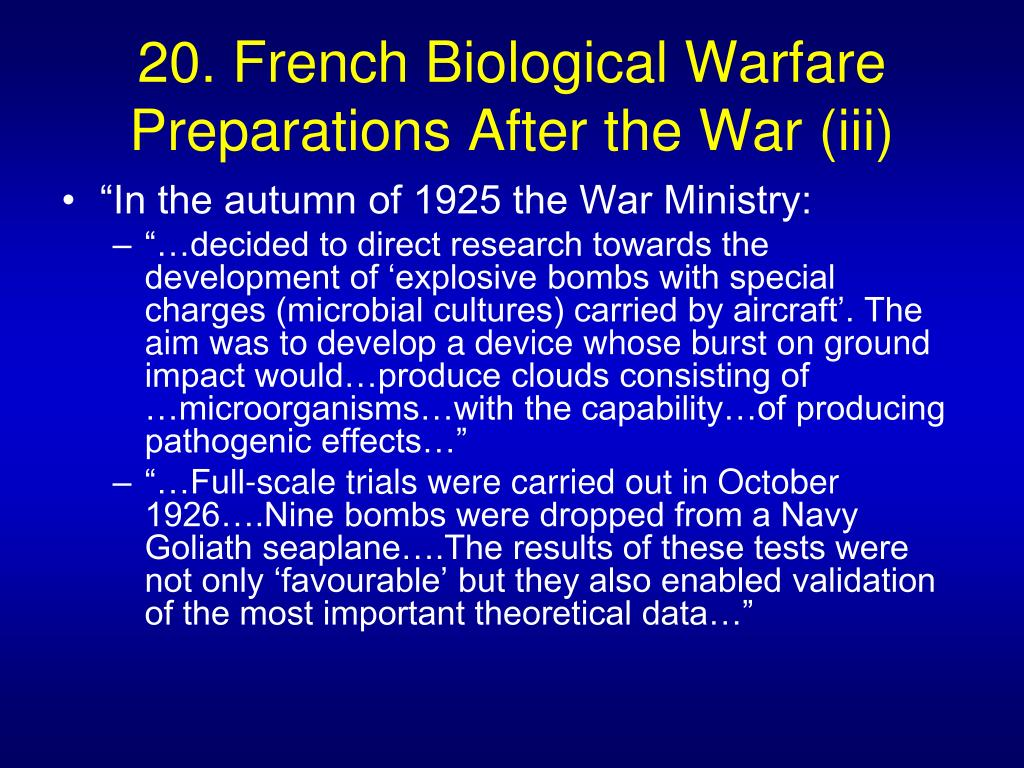 20. French Biological Warfare Preparations After the War (iii)