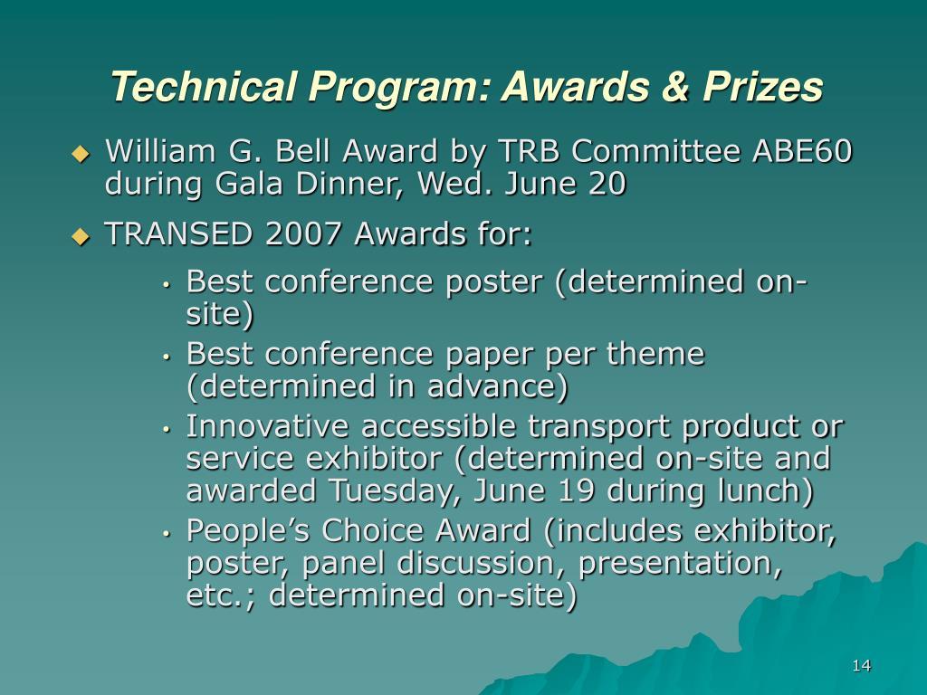 Technical Program: Awards & Prizes