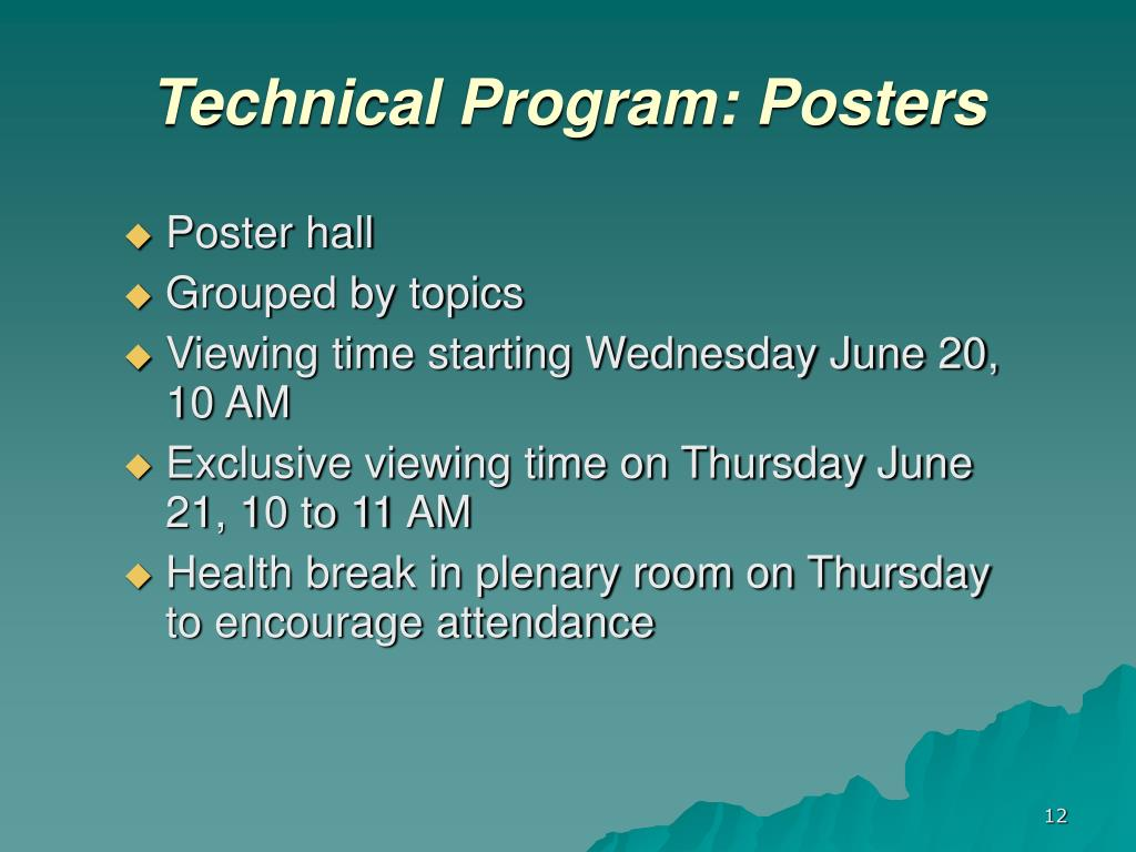 Technical Program: Posters