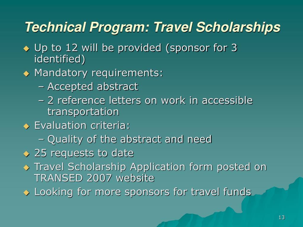 Technical Program: Travel Scholarships