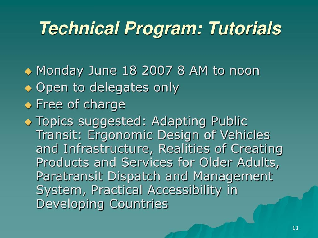 Technical Program: Tutorials