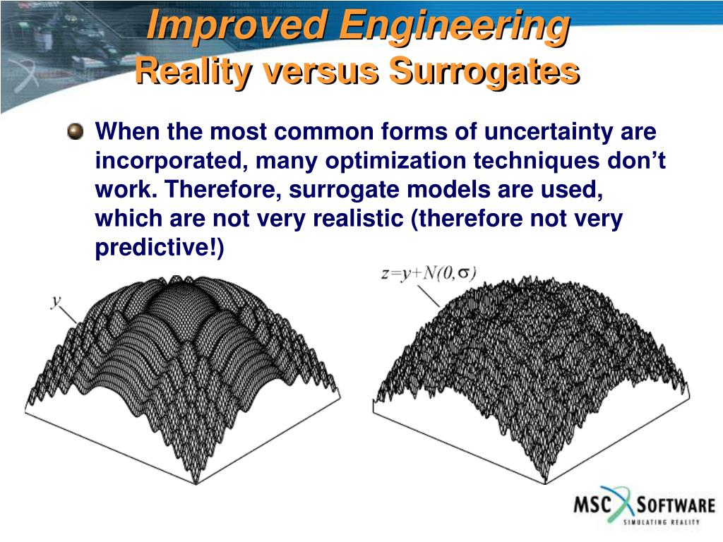 When the most common forms of uncertainty are incorporated, many optimization techniques don't work. Therefore, surrogate models are used, which are not very realistic (therefore not very predictive!)