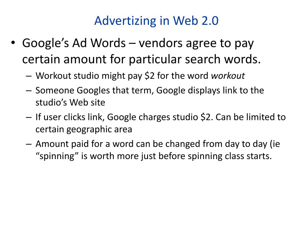 Advertizing in Web 2.0