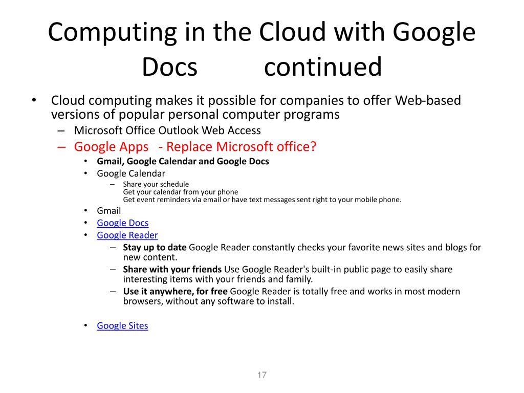 Computing in the Cloud with Google