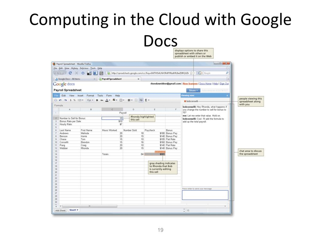 Computing in the Cloud with Google Docs