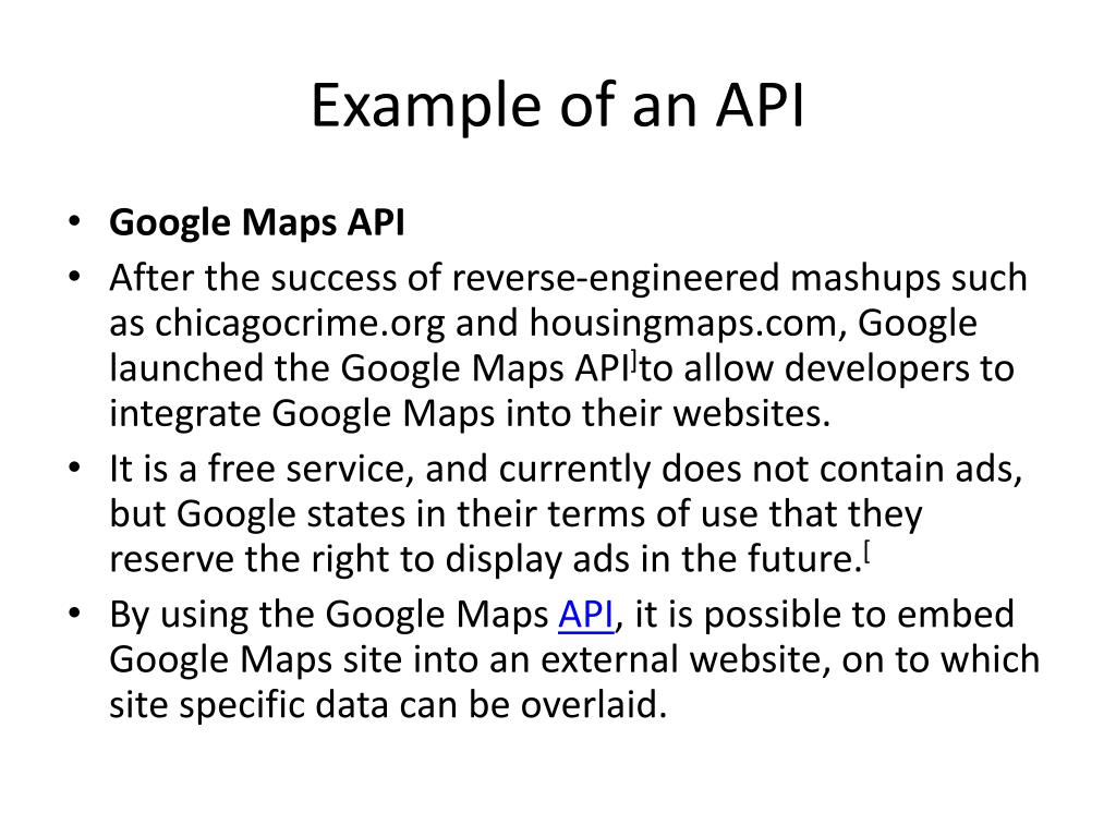 Example of an API