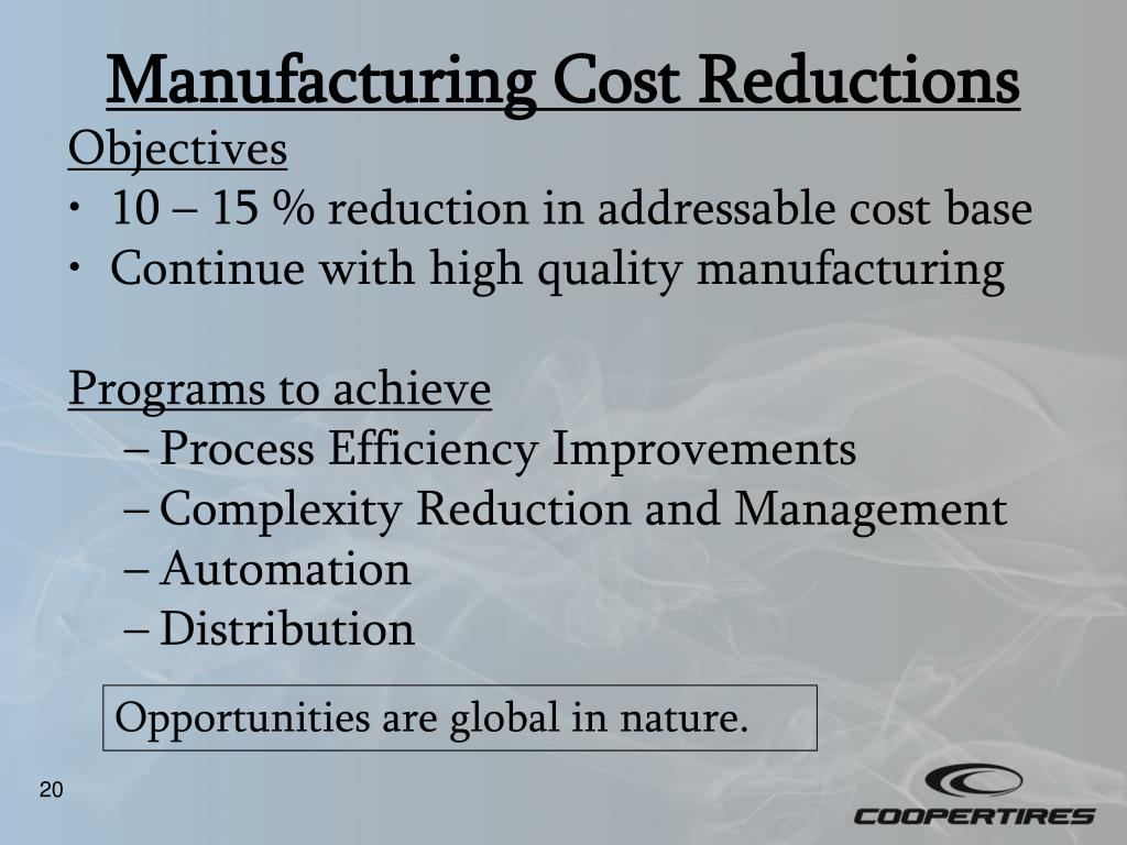 Manufacturing Cost Reductions