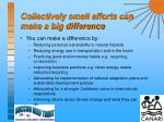 collectively small efforts can make a big difference