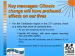 key messages climate change will have profound effects on our lives