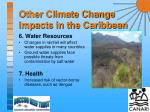 other climate change impacts in the caribbean