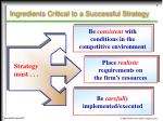 ingredients critical to a successful strategy