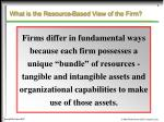 what is the resource based view of the firm